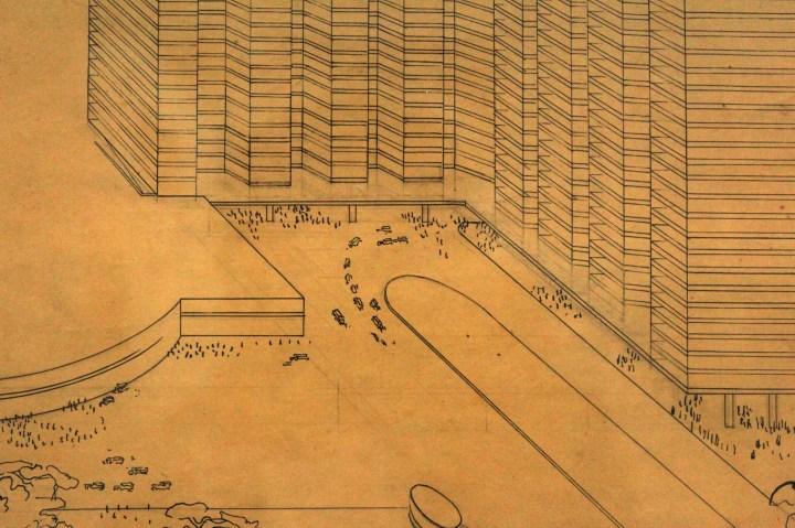 """Exposition """"Le Corbusier, mesures de l'homme"""", Centre Pompidou, 26 mai 2015 - Esquisse pour une ville de 3 millions d'habitants, 1922 (détail)"""